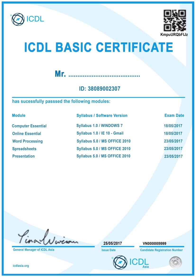 Chung chi ICDL co ban